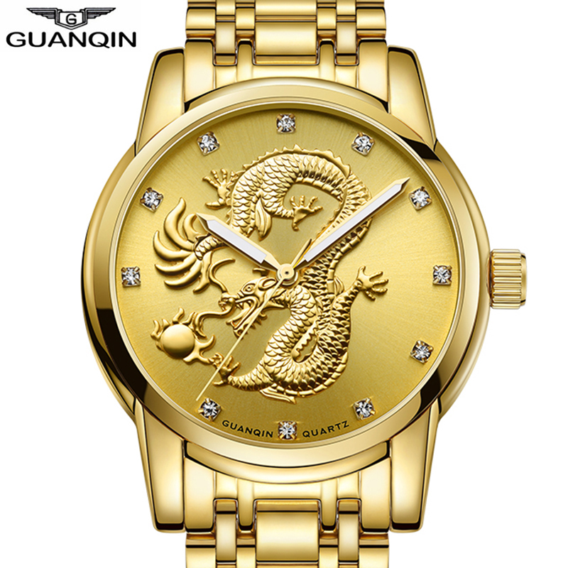 Original GUANQIN 2018 luxury men watch Top brand Golden quartz Watch men Unique Dragon dial Luminous waterproof Erkek Kol Saati wrist watch for men 2018 calendar luminous leather band waterproof luxury men watch quartz wristwatches erkek kol saati