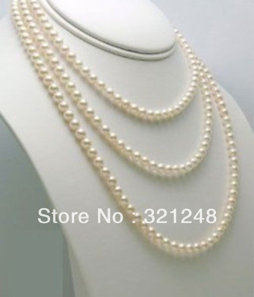 "Free shopping new 2014 diy 7-8mm white freshwater pearl necklace long 60"" MY1429"