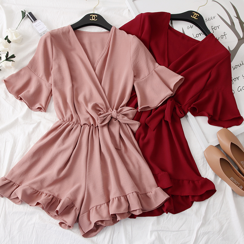 Women Rompers casual wide leg pants overalls short sleeve v neck solid playsuits summer beach chiffon ruffle jumpsuits