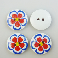 200pcs 18mm red flowers buttons 20mm  wooden button craft scrapbooking  MCB-357