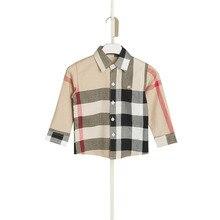 Осень-весна turn down плед воротник случайные футболки мальчиков рубашки длинным рукавом