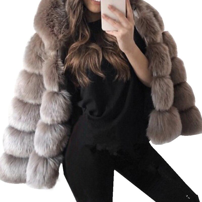 2018 Fur Coat Female Classic Warm Rabbit Fur Outerwear Women Slim Jacket Coat Plus Size 5XL Overcoat With Fur Hooded