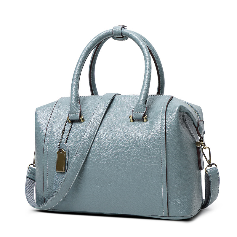2017 Embossed Genuine Leather Boston Women Handbag Fashion Casual Women Ladies Bag Simple Shoulder Pillow sac a main X38