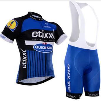 Etixx DA EQUIPE Quick step Ciclismo Roupas Bicicleta jersey Ropa Mens Quick Dry Da Bicicleta conjuntos de verão pro Cycling 9D pad