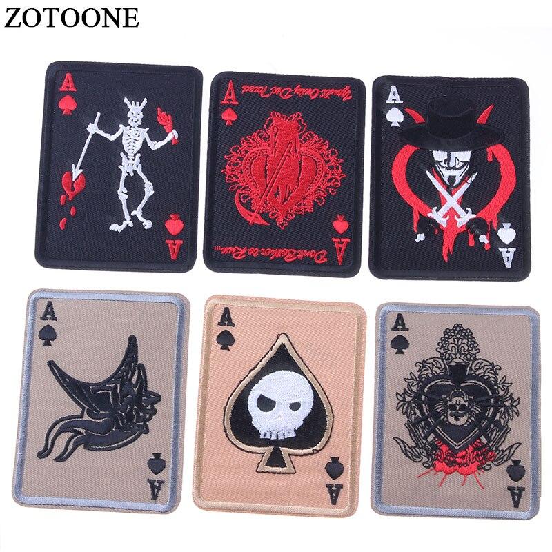 ZOTOONE-insignia bordada, carta de póker, parches de Ace of Spades, insignia militar táctica de combate del Ejército, gancho y lazo de banda