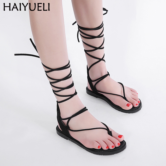 3498243ddd9f 2018 Flip Flops Bandage Women Sandals Summer Flat Shoes Woman boho shoes  Flip Flops Knee High