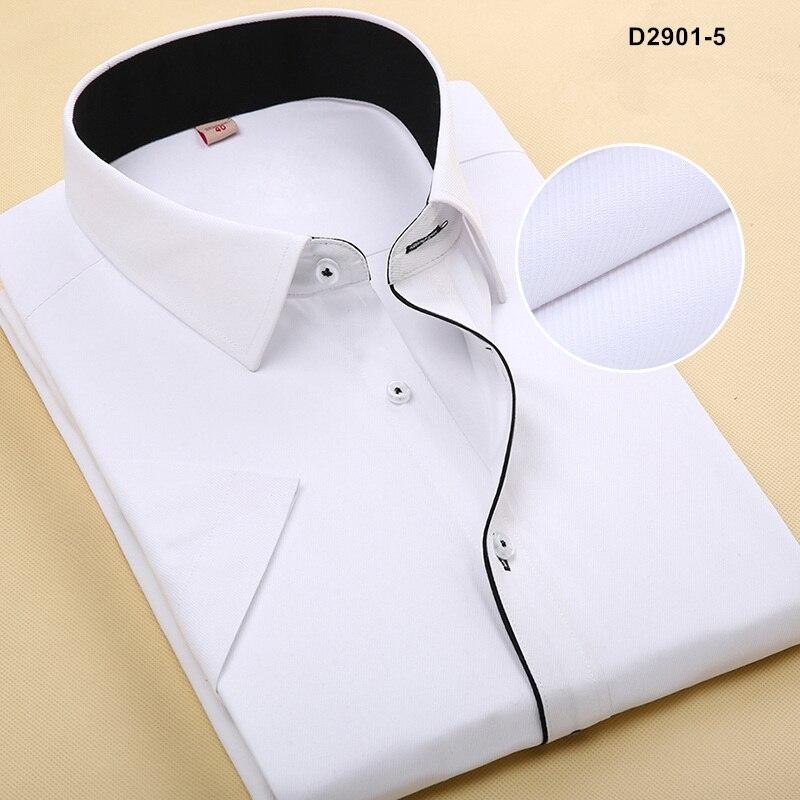 Летняя Стильная мужская брендовая одежда с отложным воротником, рубашки с коротким рукавом, мужские рубашки, приталенная Однотонная рубашка для мужчин - Цвет: D29015