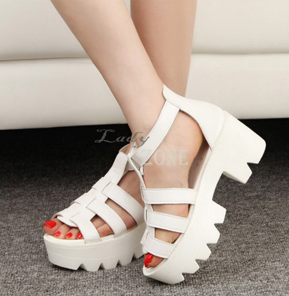 7e5cfb892ab Gladiator Summer Women Shoes Chunky Platform Sandals High Heel Strap Open  Toe Sandals Shoes Black White 35-in Women s Sandals from Shoes on  Aliexpress.com ...