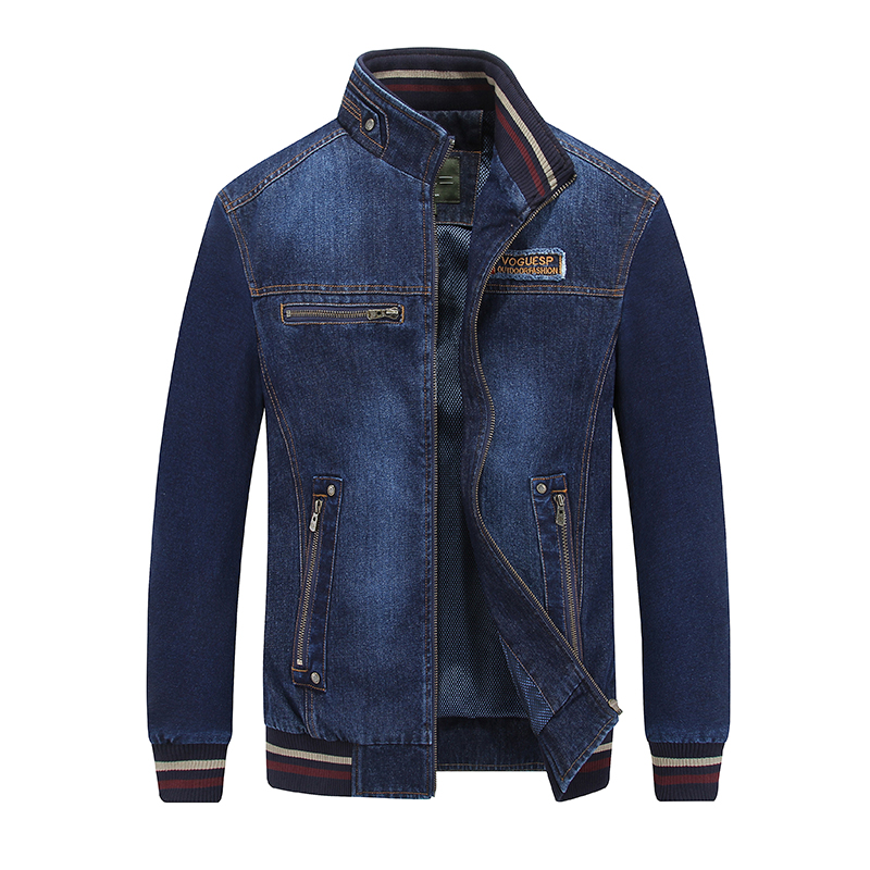 AFS JEEP 2018 Új divat farmer dzseki férfi utcai viselet állvány gallér cipzár alkalmi férfi kabát kabát jaqueta farmer masculina