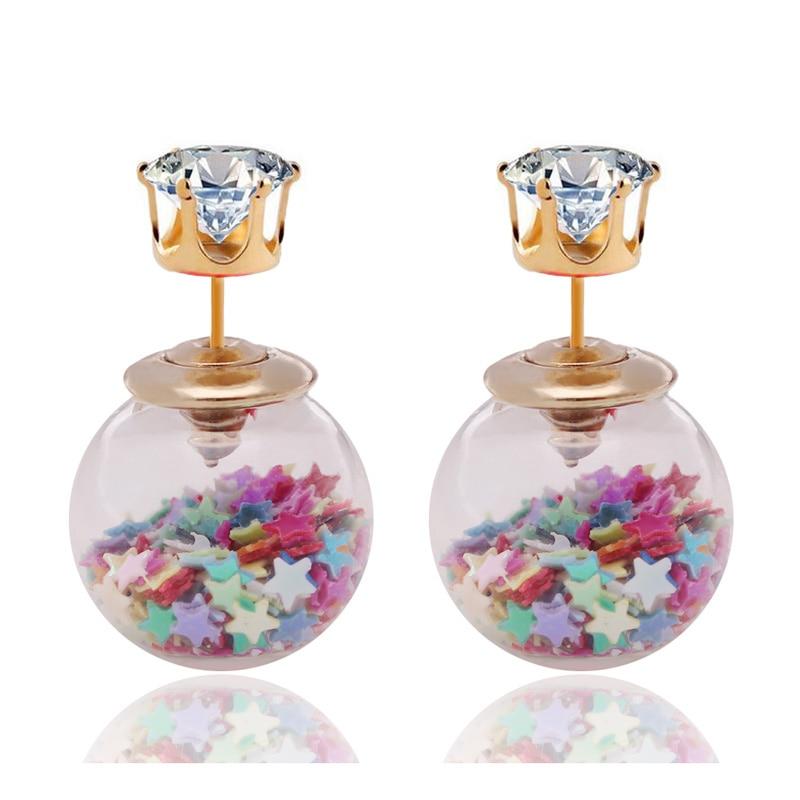 Новые модные ювелирные изделия Золотая Корона Кристалл Сияющие Двойные стороны большой стеклянный жемчуг серьги-гвоздики звезда мяч серьги-гвоздики для женщин