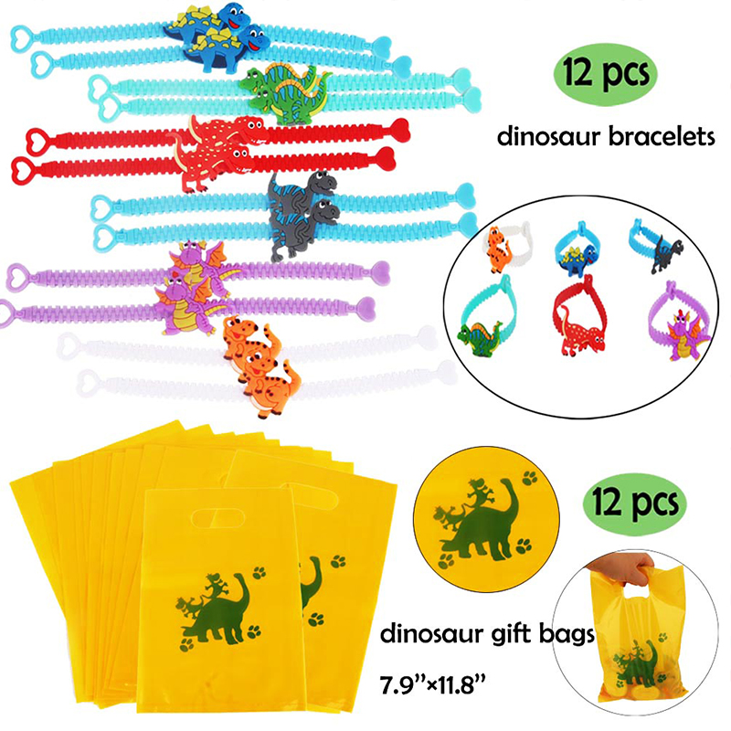 Image 2 - Dinosaur Party Favor For Kids Birthday Party Bags Toys Rings Bracelets Tattoo Dinosaur Party Supplies Baby Shower Gifts Keychain-in Party Favors from Home & Garden
