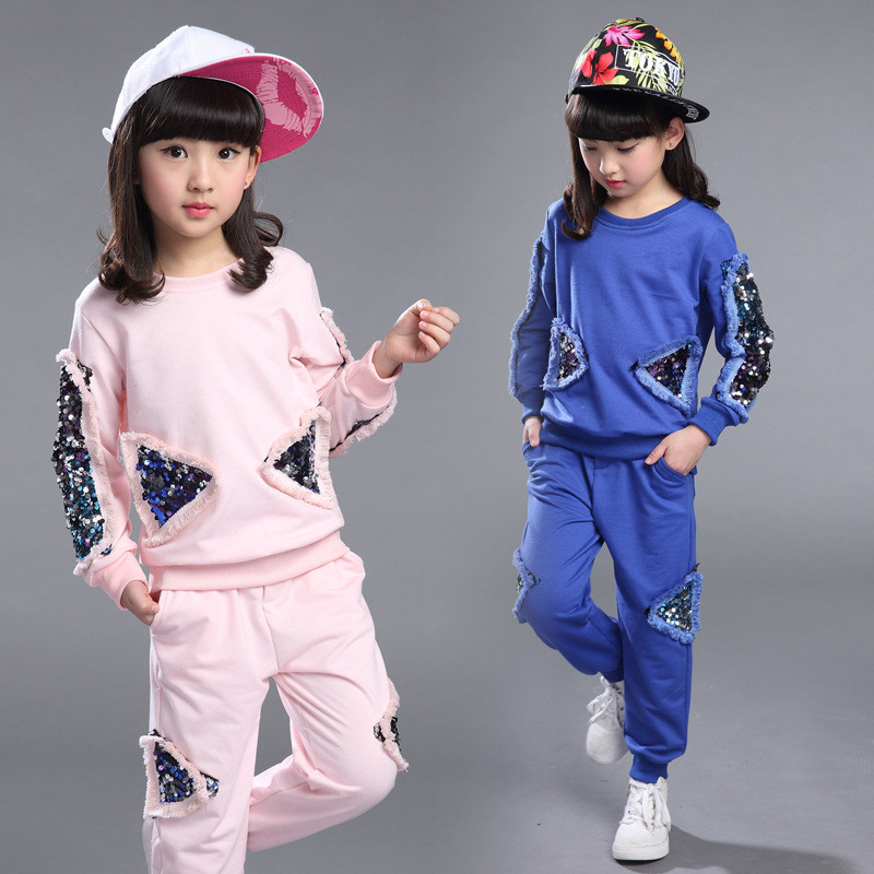 Girls Real Clothing Sets 2017 Spring Autumn Children Tracksuit Sequined Long Sleeve Sweatshirt Pants Kids 2pcs Casual Sport Suit retail 2pcs brand new design girls clothing sets for kids autumn tracksuit for girls velvet jacket pants children sport suit