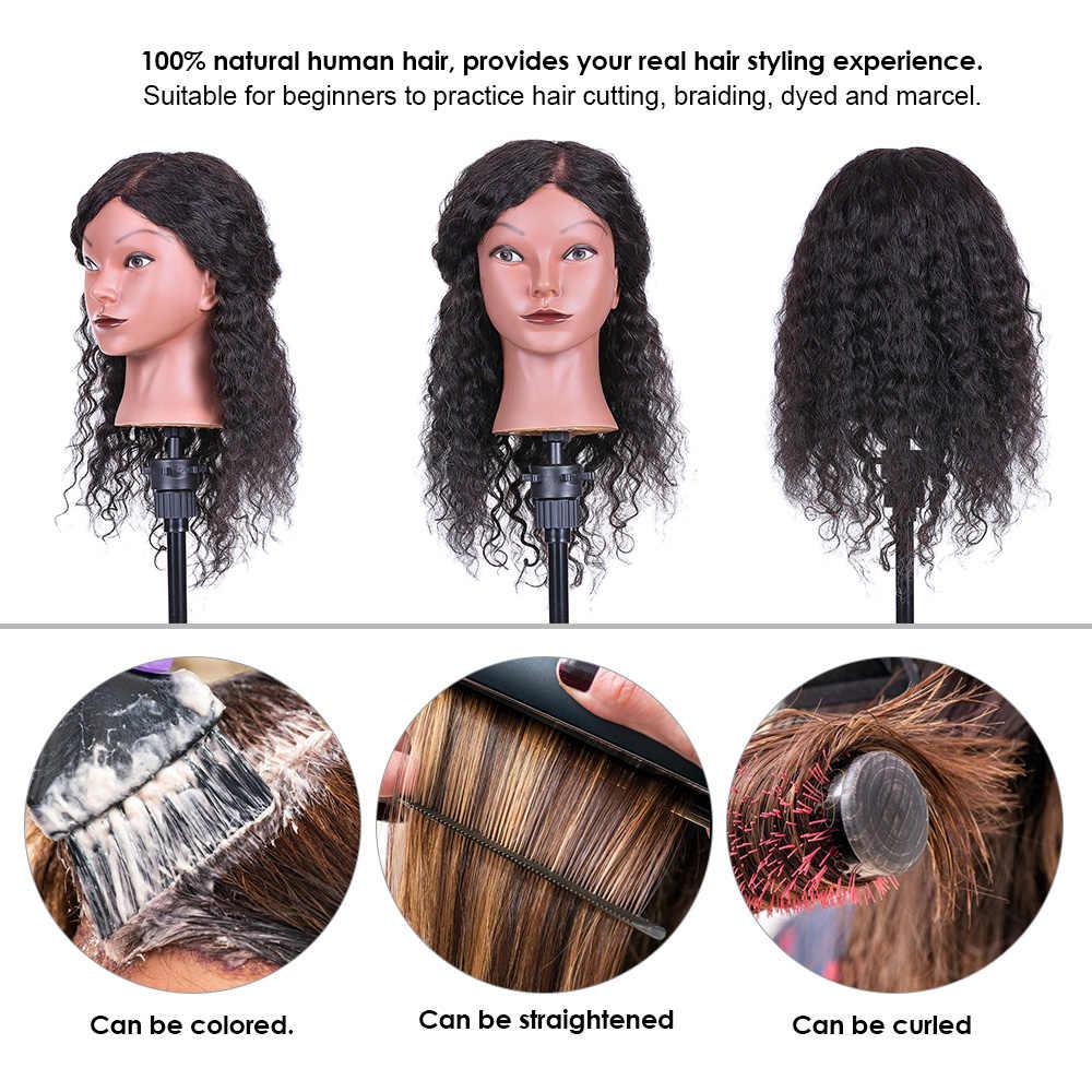 Cabeza de Maniquí de pelo rizado cabeza de entrenamiento de peluquería para el cabello trenzado de práctica de entrenamiento cabeza de muñeca con cabello humano