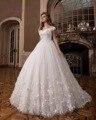 Dreagel Colher Lindo Pescoço Princesa vestido de Baile Vestidos de Casamento 2017 Luxo Apliques Frisada Vestido Flores Pérolas Vestido de Noiva