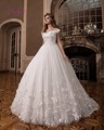Dreagel Gorgeous Scoop Neck Princess Ball Gown Wedding Dresses 2017 Luxury Appliques Beaded Vestido Flowers Pearls Bridal Dress