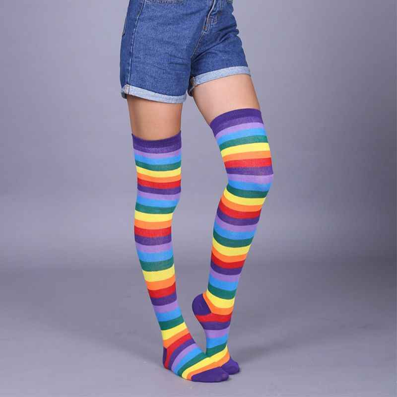 e3d5503958727 ... Womens Unisex Winter Knitted Fingerless Gloves Socks Set Rainbow Stripes  Printed Colorful Thigh High Stockings Elbow ...