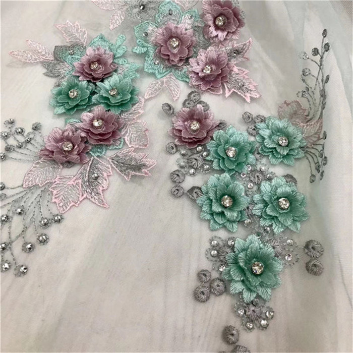 Fashionable evening tulle lace fabric with 3D appliques French net lace fabric with stones HNZ159 (5yards/lot)