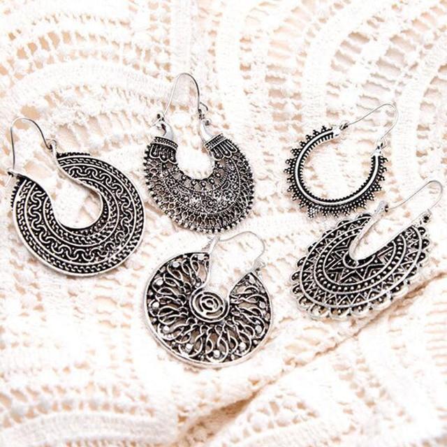 Retro Korean Hollow Texture Earrings Boho Vintage Tibetan Silver Round Ear Hook Tribal Hanging