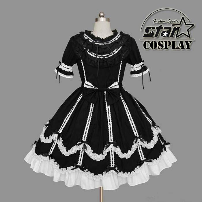 2016 Japanese School Girls Uniform Cosplay Costume Anime Girl Maid Sailor Lolita Dress Striped Black/Pink/White Girl Costume