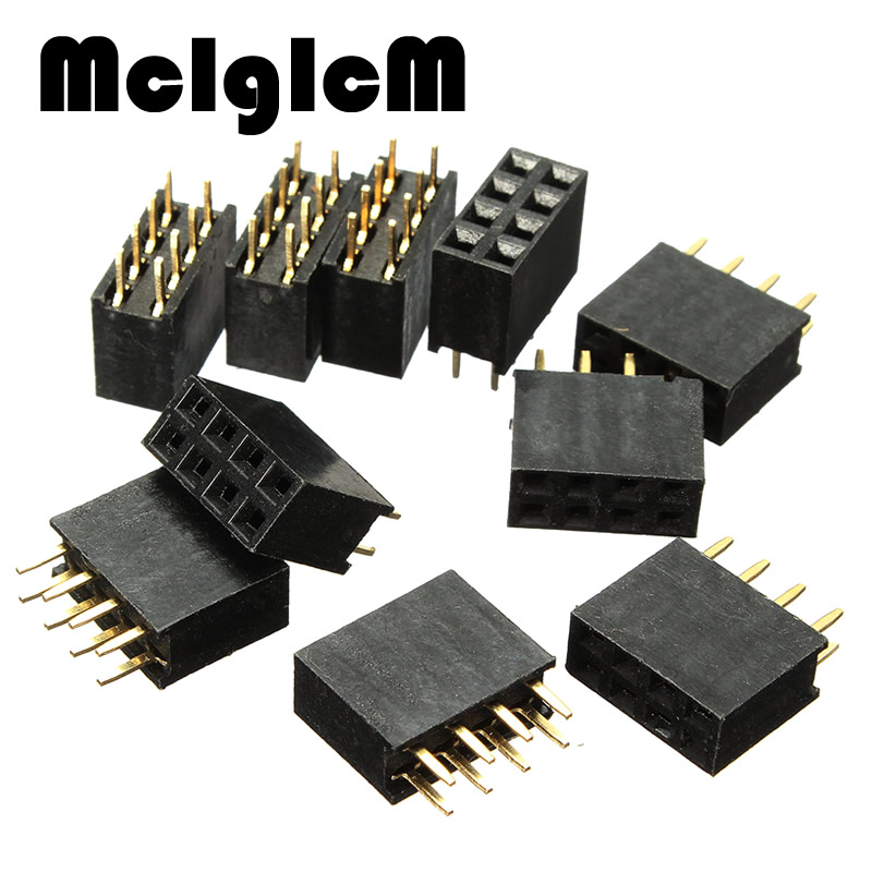 50PCS 2x4 Pin 8P 2.54mm Double Row Female Straight Header Pitch Socket Pin Strip