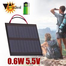 amzdeal Wire Cable Polycrystalline 0.6W 5.5V Solar Panel Board Plate Charger Black Outdoor Travelling Powerbank Charging Module