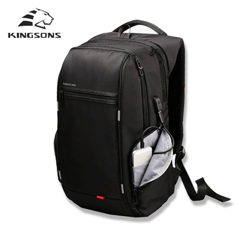 Kingsons Марка Внешний USB зарядки рюкзак мужской защита от кражи Водонепроницаемый рюкзак для ноутбука 13 15 17 дюймов mochila студент школьные сумки