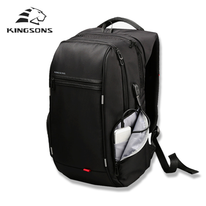 Kingsons Brand External USB charge backpack male anti theft Waterproof laptop backpack 13 15 17 inch mochila Student School Bags
