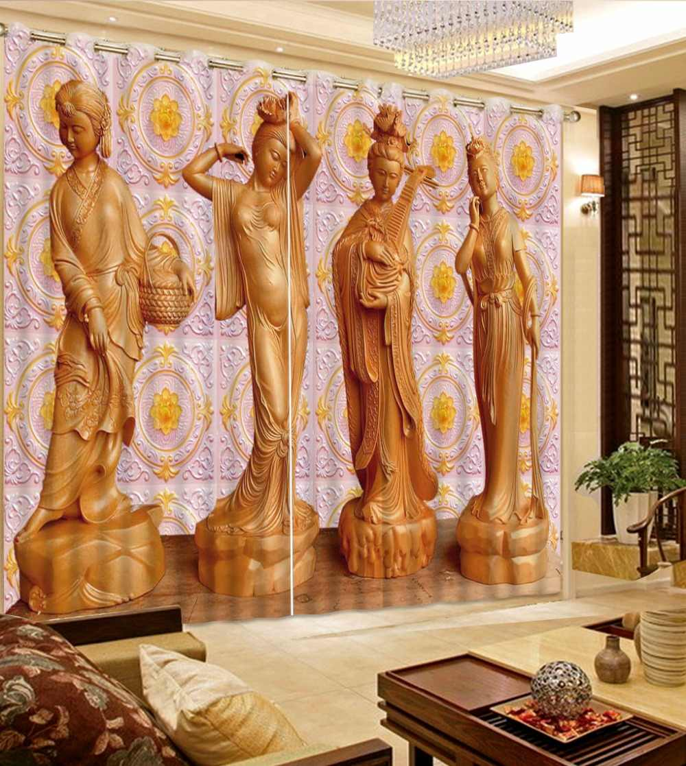 3D Curtains Living Room Blackout Polyester/Cotton Curtains For Window carving girls Printing 3D Drapes