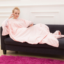 Winter Hooded Pocket Blankets Warm Soft Hoodie Slant Robe Bathrobe Pullover TV Flannel Fleece Blanket Sweatshirt With Sleeves