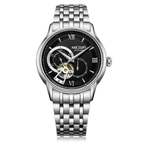 Megir 최고 브랜드 럭셔리 시계 남자 자동 기계식 시계 사파이어 스테인레스 스틸 다이빙 시계