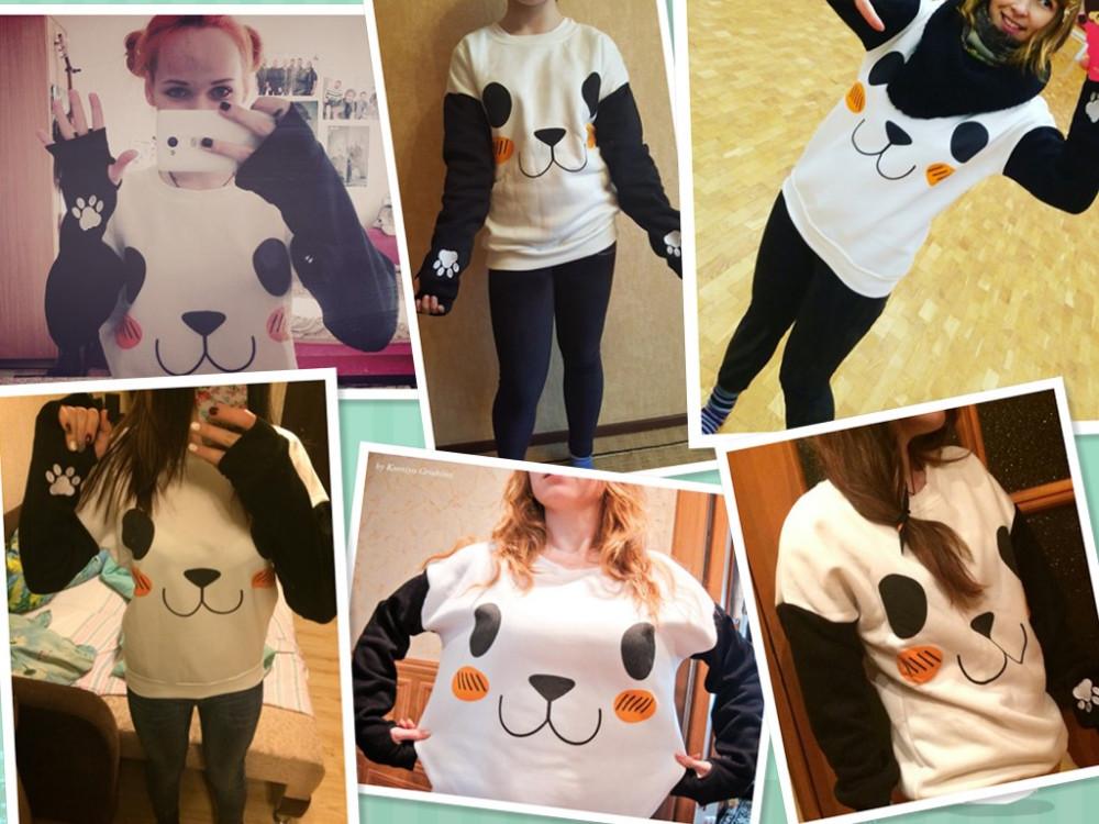 New College Wiatr Kobiety Bluzy Moda Cartoon Panda Bluzy Dorywczo Drukowane Mieszane Kolor Harajuku Dresy Kobiet Sudaderas 1
