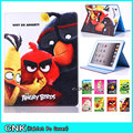 Cute Cartoon Bird Case For iPad With Soft TPU Shell Case For Apple iPad 6 iPad Air 2 Case Flip Stand PU Leather Tablet Pc Cover