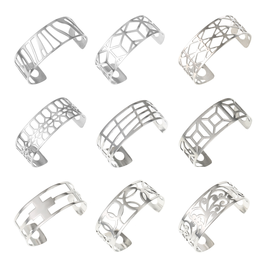 Legenstar Bangles For Women Hollow Stainless Steel Cuff Bracelets&Bangles Bijoux Manchette Femme Bracelet Argent Pulseiras punk style exaggerated square hollow out conjoined ring cuff bracelet for women