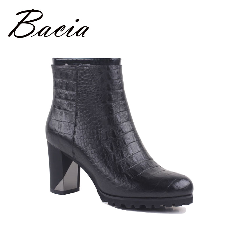 Bacia Woman Natural Sheepskin Leather Ankle boots, 8cm High Heels Shoes, Winter with Wool Fur Inside And Autumn with Plush VC025 bacia winter boots for women full grain leather boots heels 5 8cm wool fur