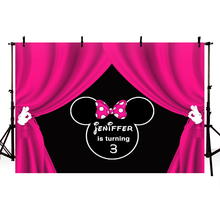 MEHOFOTO Cartoon Minnie Mouse Children Birthday Party Photo Backdrops Custom Photography Background for Studio