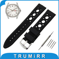 20mm 22mm Silicone Rubber Watch Band for Seiko Stainless Tang Buckle Strap Wrist Belt Bracelet Black Red + Spring Bar + Tool