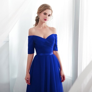 Image 3 - Royal blue Evening Dresses 2019  Long boat neck prom gown Cheap  Half Sleeve Vestido da festa fashionable formal party dress