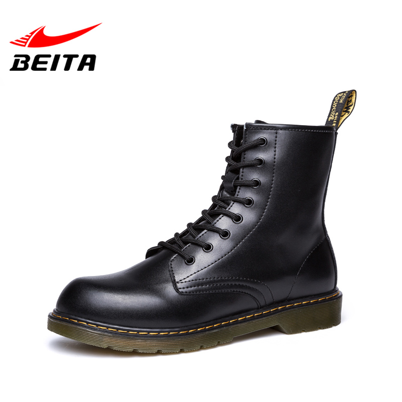 Beita Brand High Quality Leather Men's Boots Fashion Casual Shoes Men with Lace-Up Grain-Leather Round Toe Winter Boots Footwear 2017 spring brand new fashion pu stretch fabric men casual shoes high quality men casual shoes lace up casual shoes men 1709