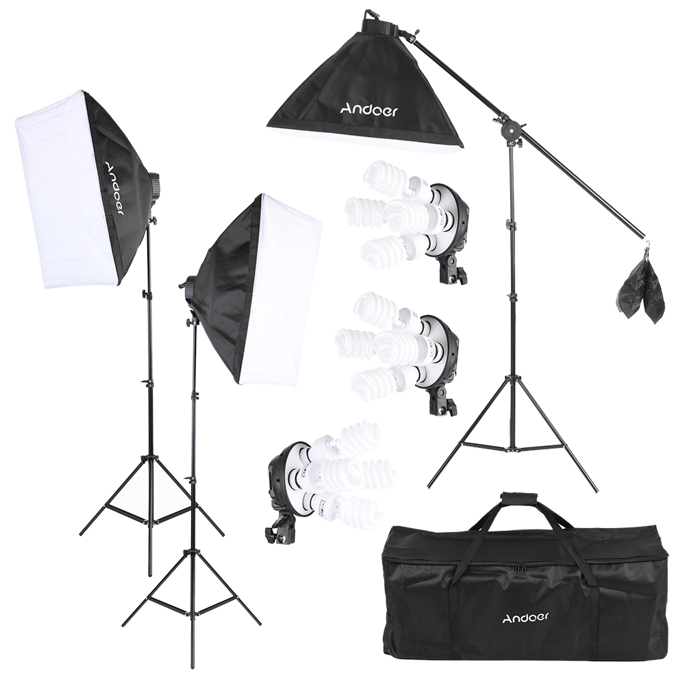 Andoer Photo Studio Kit Photography Lighting Equipment w 12 45W Bulb Socket Softbox Light Stand Cantilever