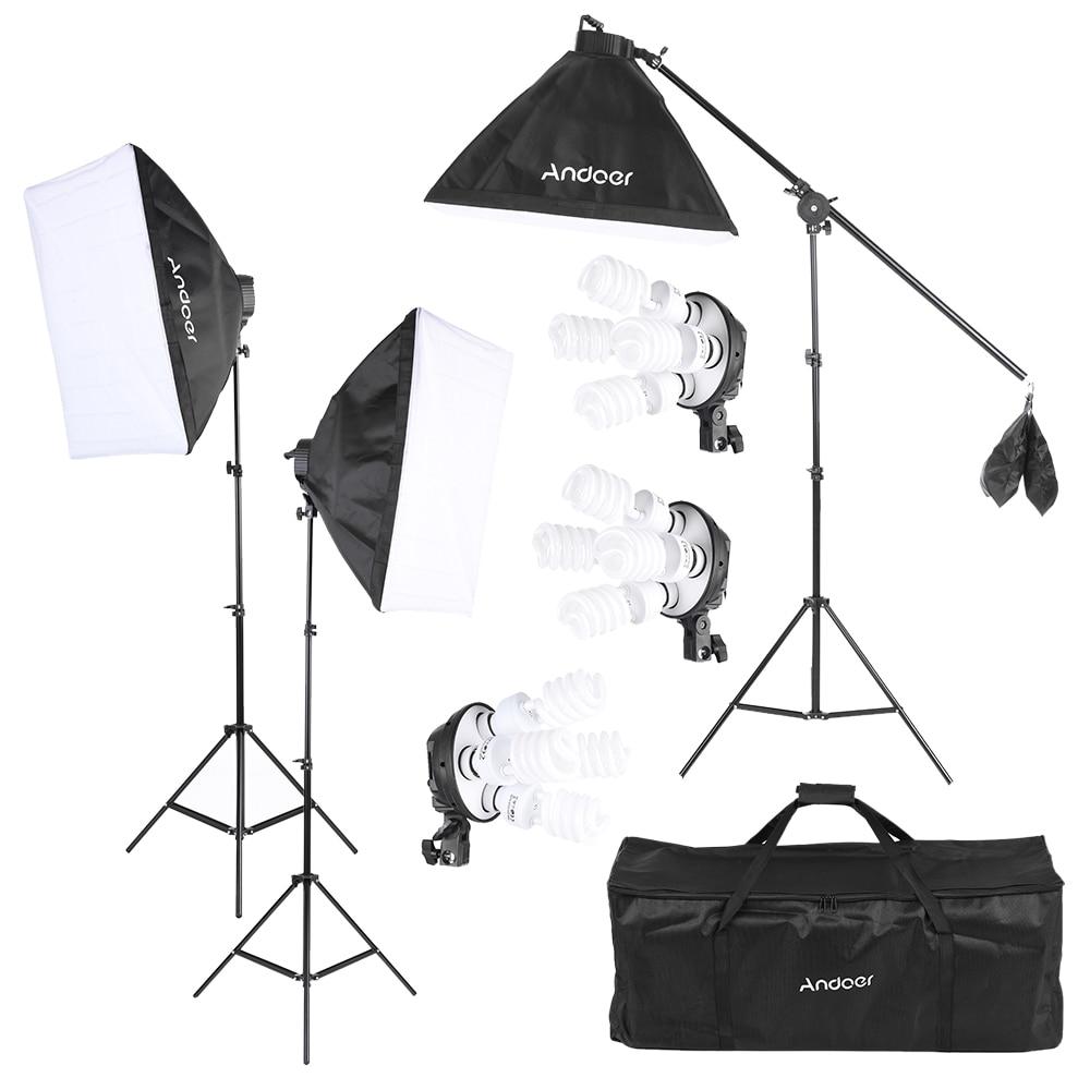 Andoer Photo Studio Kit Photography Lighting Equipment w 12 45W Bulb Socket Softbox Light Stand Cantilever