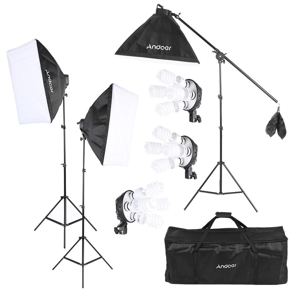 bilder für Andoer foto studio kit fotografie lichttechnik w/12*45 w lampenfassung softbox licht stehen cantilever stick tragetasche