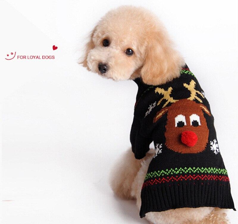 Crochet Cats Sweater Deer Pattern Aran Pet Dog Puppy Knitted Clothes ...