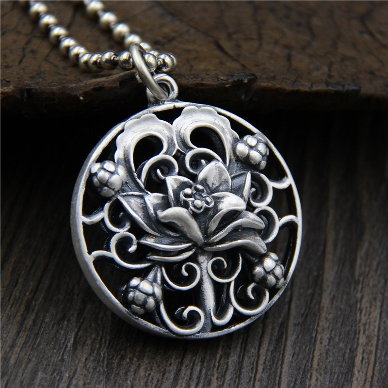 Necklaces & Pendants Hollow Lotus Flower Engraved Round Shape Real Pure 925 Sterling Silver Vintage Ethnic Amulets Charms traditional ethnic flower design linen square shape pillowcase