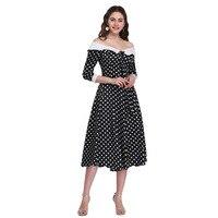 Sexy Off Shoulder Polka Dot Print Pin Up Dress For Women Vintage Slim Long Swing Dress Evening Plain Style Rockabilly Ladies