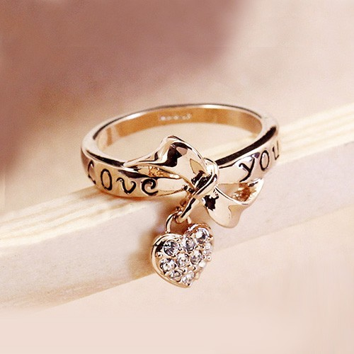 Fashion Jewelry Love You Bowknot Rings Heart Rhinestone 18k Gold