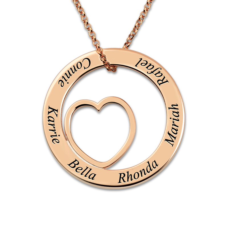 AILIN Customized Engraved Love Circle Necklace Rose Gold Color Family Name Necklace Heart Pendant Necklace for Mother yoursfs love you forever white gold plated heart in circle pendant necklace with austrian crystal open heart silver necklace wo