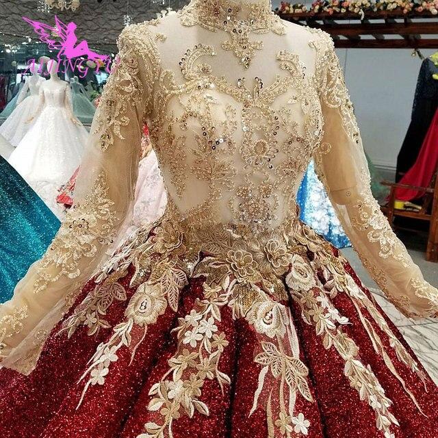 AIJINGYU Lange Schwanz Hochzeit Kleid Casual Kleid Indien Türkei Mit Rüschen Rustikalen Bräute Alle Kleider Hochzeit Kleider