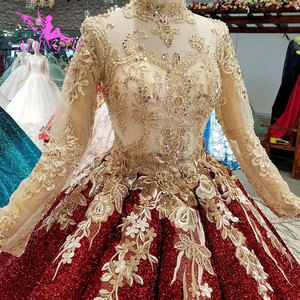 Image 1 - AIJINGYU Long Tail Wedding Dress Casual Gown India Turkey With Ruffles Rustic Brides All Gowns Wedding Dresses