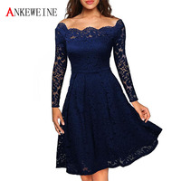 Women S Vintage Floral Lace Long Sleeve Boat Neck Cocktail Formal Swing Dress Sexy Lace Women