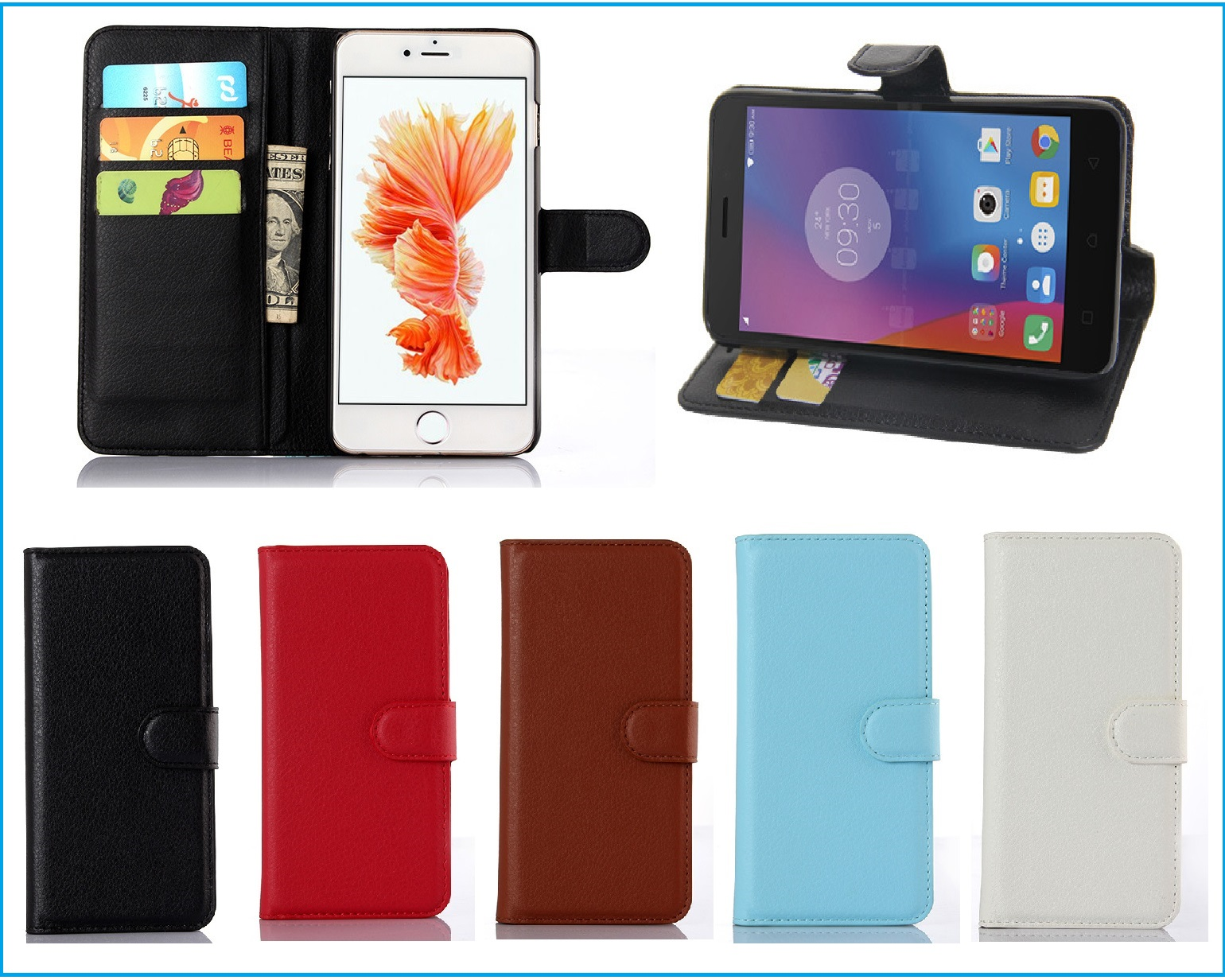 5 Colors Hot!! For <font><b>HomTom</b></font> <font><b>S16</b></font> <font><b>Case</b></font> Ultra-thin Flip Leather Exclusive Phone Cover Folio Book Card Slots Free Shipping image